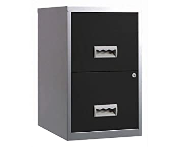 buy online b2e13 bed7b Pierre Henry 095808 A4 Steel Lockable 2 Drawers Filing Cabinet -  Silver/Black