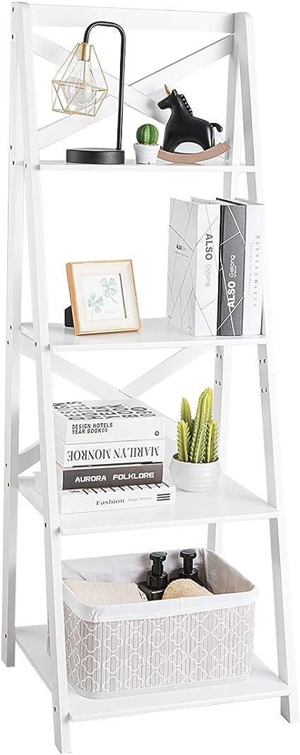COSTWAY Estantería Escalera de 4 Niveles Estante de Esquina de Madera para Libro Flor Planta Decoración (Blanco)