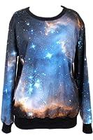 Pink Queen Women's Galaxy Print Roll Neck Pullover Sweatshirt