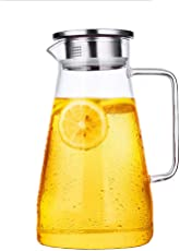 Gobize 66 Oz Large Heat Resistant Borosilicate Glass Pitcher with Stainless Steel Lid Iced Tea Pitcher Beverage Carafe