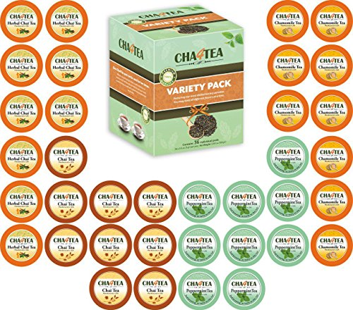 Cha4TEA 36-Count Herbal Tea K Cups for Keurig K-Cup Brewer (Peppermint, Herbal Chai and Camomile, Chai Black Tea)