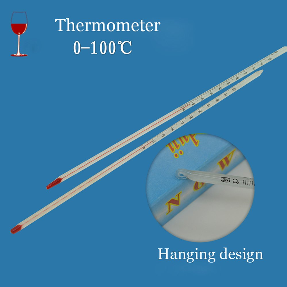 0-100 Degree Glass Thermometer Home Brew Laboratory Red Water Filled Thermometer ( 2 of pack )