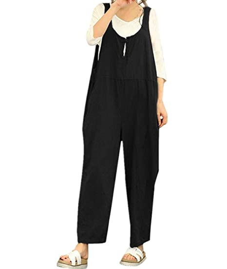 c05fdbcd1d6ff Amazon.com  Qisc Women Pants Womens Casual Sleeveless Dungarees Loose  Cotton Linen Bib Baggy Overalls Jumpsuit Pants Plus Size Romper  Clothing