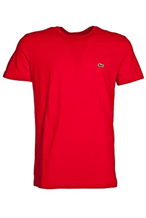 910e4507b Lacoste TH2038 S/S Crew Neck T-Shirt 240 Red 8 Red: Amazon.co.uk: Clothing