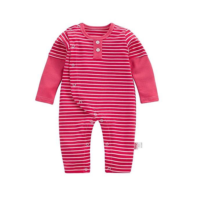 Mono bebé ,Feicuan Striped Algodón Outfit pijamas trajes Casual Manga Larga Toddler Bodysuit 1-