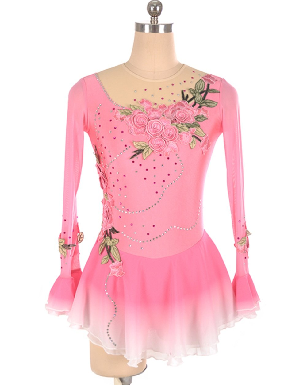 Skating Queen Handmade Ice Skating Dress for Girls Women Figure Skating Competition Costume Skating Dress Appliques Crystals Long Sleeved Pink