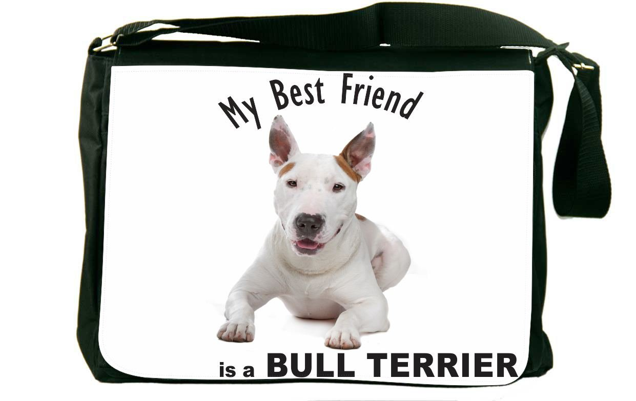 Rikki Knight My Best Friend is a Bull Terrier Dog Messenger Bag School Bag
