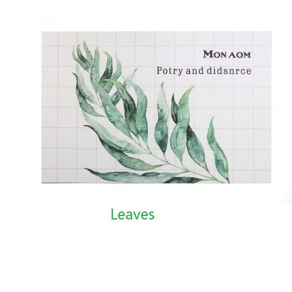 Placemats Woven Vinyl Anti-slip Insulation Color Nordic Style Green Plant M Leaves Placemats Table Mats for Dinner Table Round Table Set of 8
