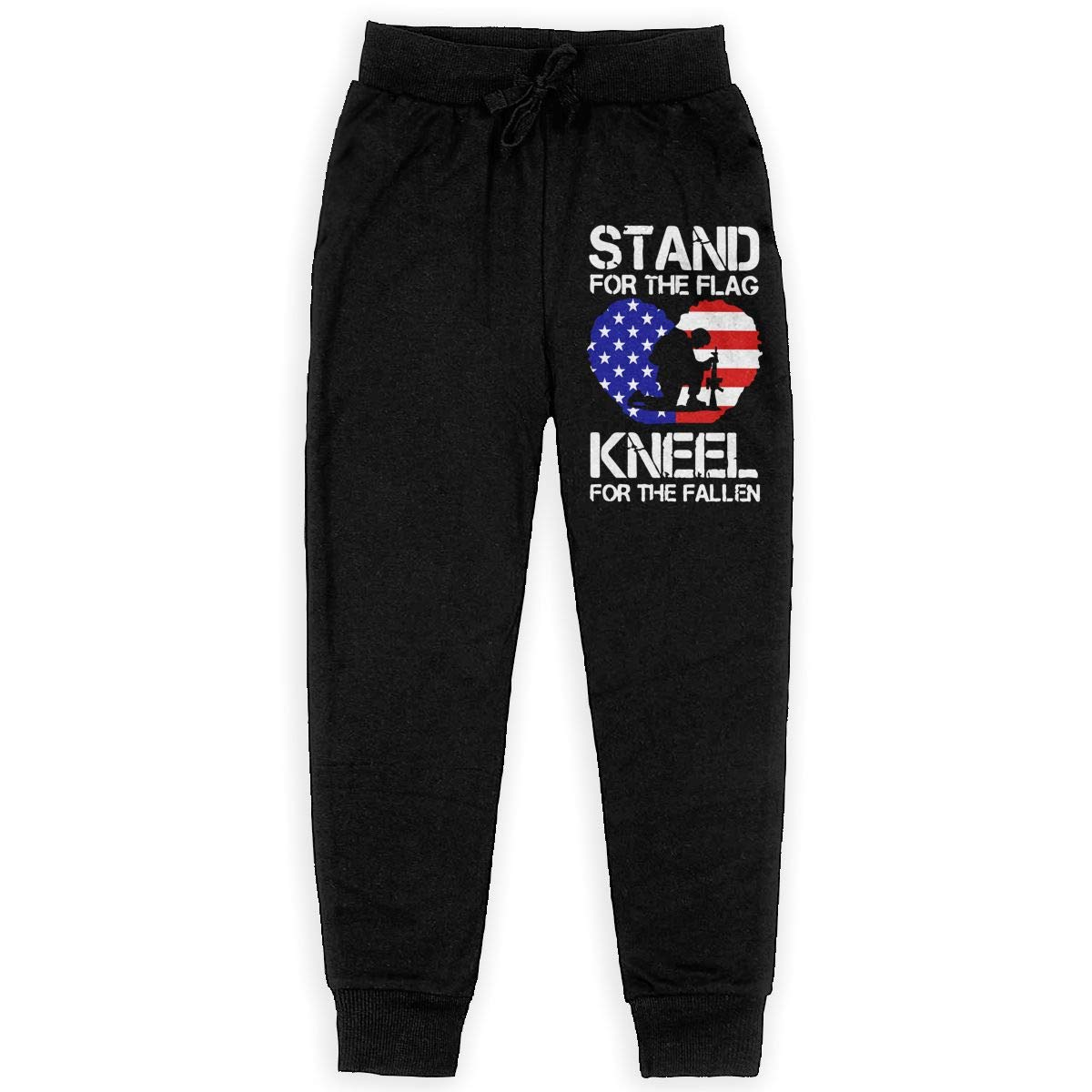 Youth Warm Fleece Active Pants for Teenager Boys Kneel for The Fallen Soft//Cozy Sweatpants Stand for The Flag