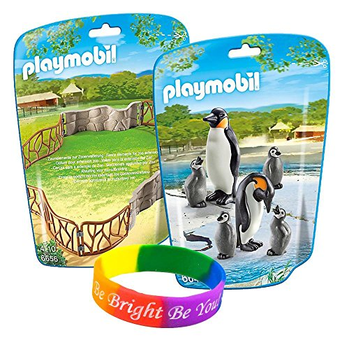 Price comparison product image Playmobil 2 in 1 Zoo Keeper Kit with Penguin Family and Enclosure Building Set with FREE Dimple Bracelet!