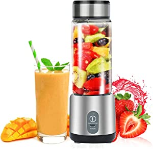 Personal Smoothie Blender, Portable USB Rechargeable Blender, 450ml Small Blender Juicer Mixer Cup, Multifunctional Mini Travel Blender Juicer (Shakes, Smoothies, Baby Food, Home, Travel & Gym) BPA Free