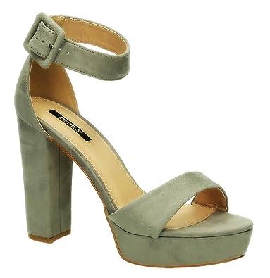 High Velours Abend 007 Pumps Sommer Schuhe Riemchen Sandaletten Toes Heels Peep Damen Party Blockabsatz b76gfyYvI