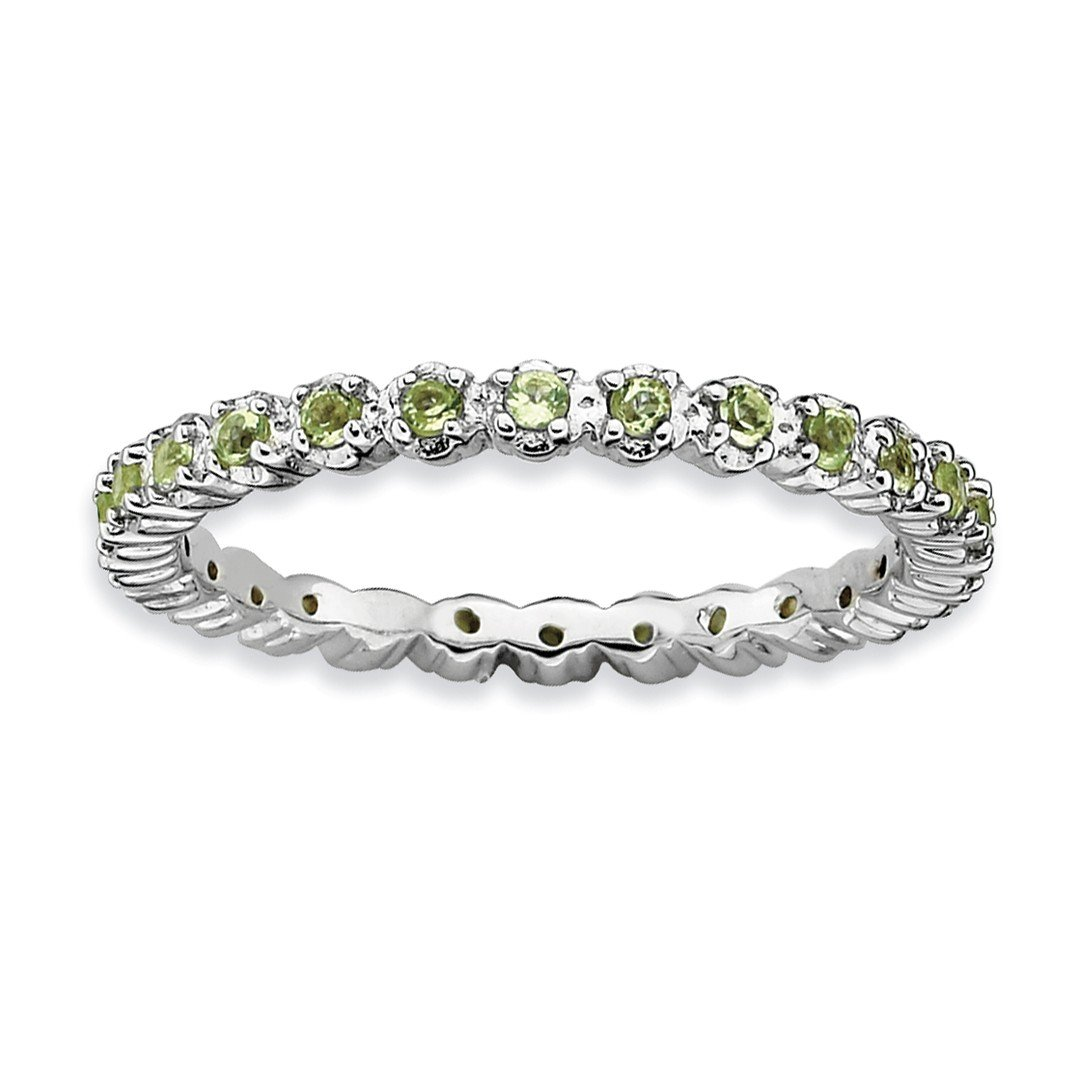 ICE CARATS 925 Sterling Silver Green Peridot Band Ring Size 7.00 Stone Stackable Gemstone Birthstone August Fine Jewelry Ideal Gifts For Women Gift Set From Heart