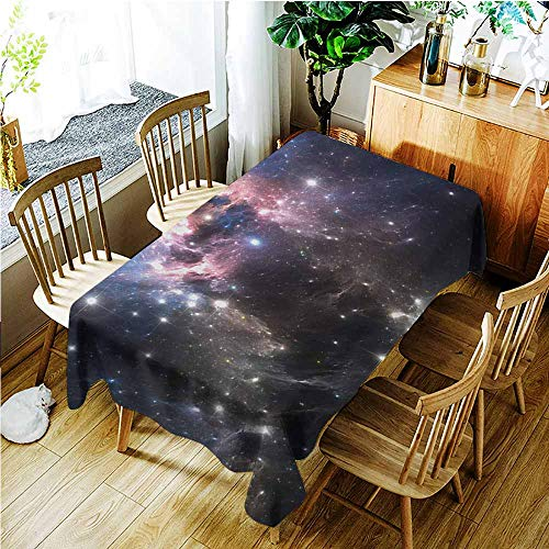 (TT.HOME Large Rectangular Tablecloth,Constellation Giant Nebula in Vivid Colors Space Motion Supernova Futuristic,Resistant/Spill-Proof/Waterproof Table Cover,W52x70L,Pale Pink Blue Black)
