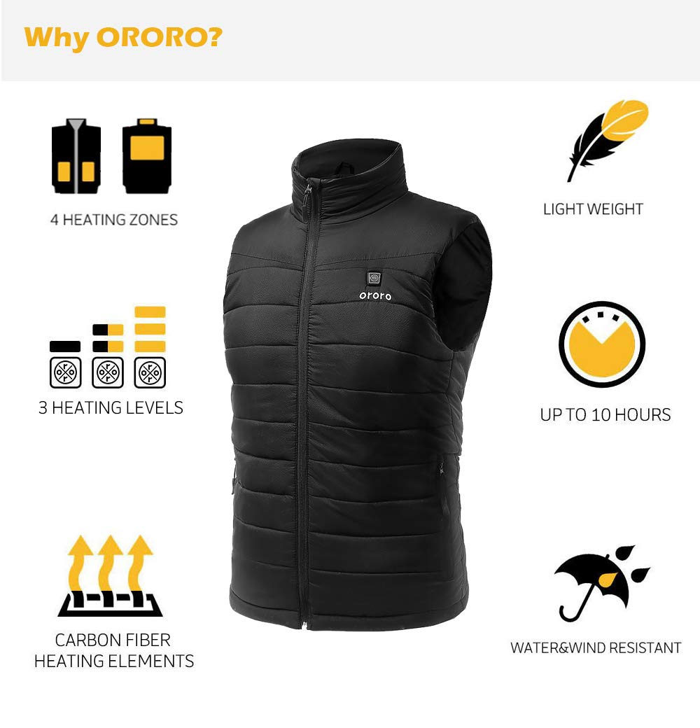 ORORO Mens Lightweight Heated Vest with Battery Pack