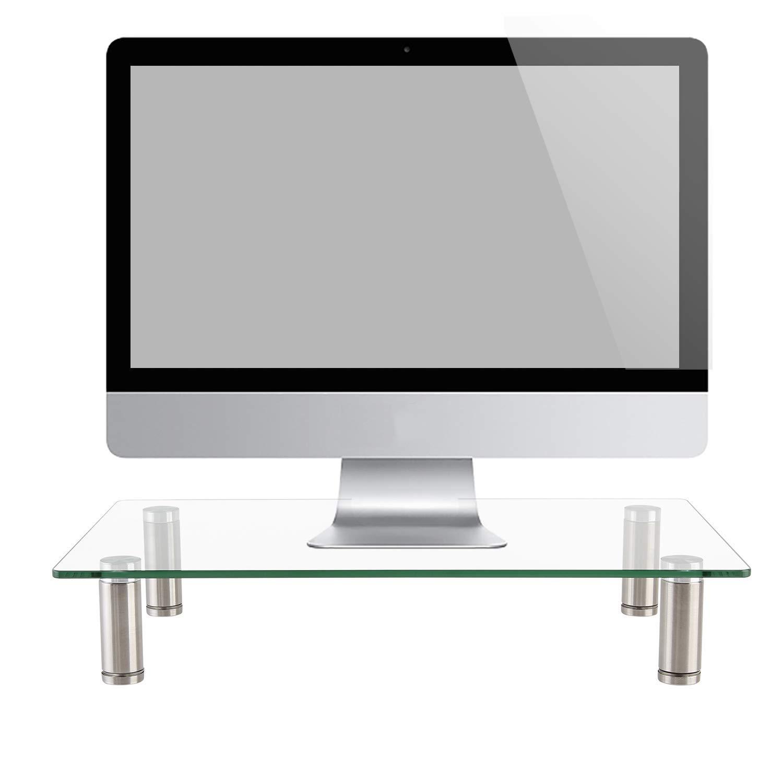 WALI 強化ガラス モニター ライザー デスクトップスタンド 高さ調節可能 卓上 平面画面 LCD LED TV ノートパソコン/ノートブック ディスプレイ用 (GTT01-2) 2パック   B07JPX1M9G
