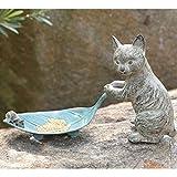 Ebros Verdi Green Aluminum Tom Cat with Mouse Pulling Leaf Bird Feeder Or Bird Bath Statue for Garden Patio Home Decor