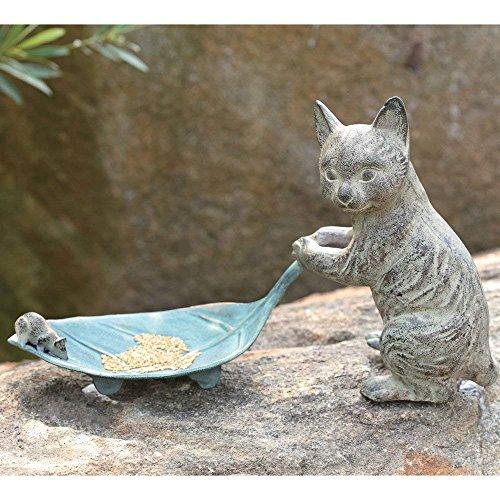 (Ebros Verdi Green Aluminum Tom Cat with Mouse Pulling Leaf Bird Feeder Or Bird Bath Statue for Garden Patio Home Decor)