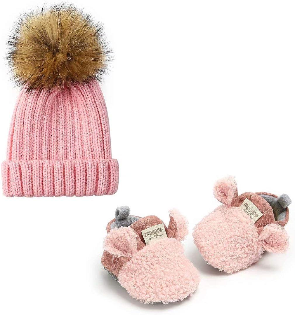 myggpp Baby Boys Girls Slipper Shoes Caps Anti-Slip Soft Sole Cotton Kint Crib Shoes Cartoon Moccasins
