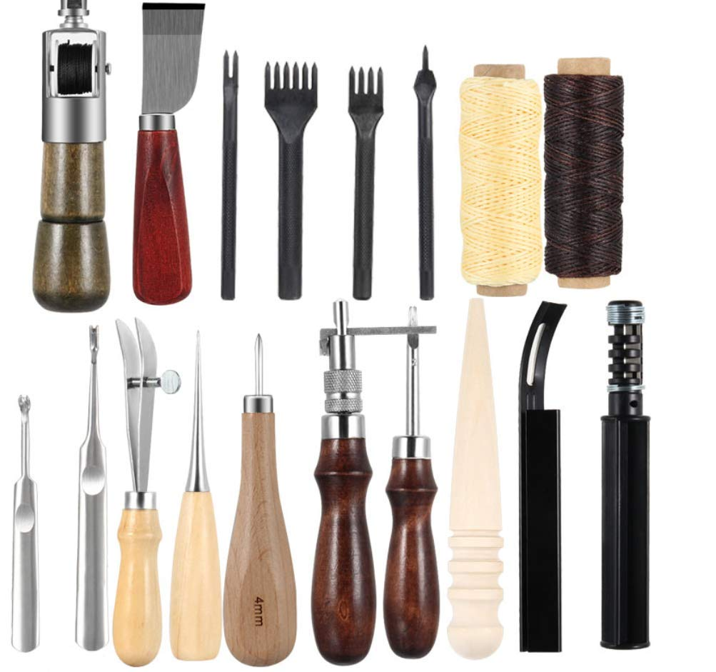Hycy 18 Pcs/Set Leather Sewing Tools Craft DIY Hand Stitching Awl Waxed Thimble Canvas Leather Craft by Hycy