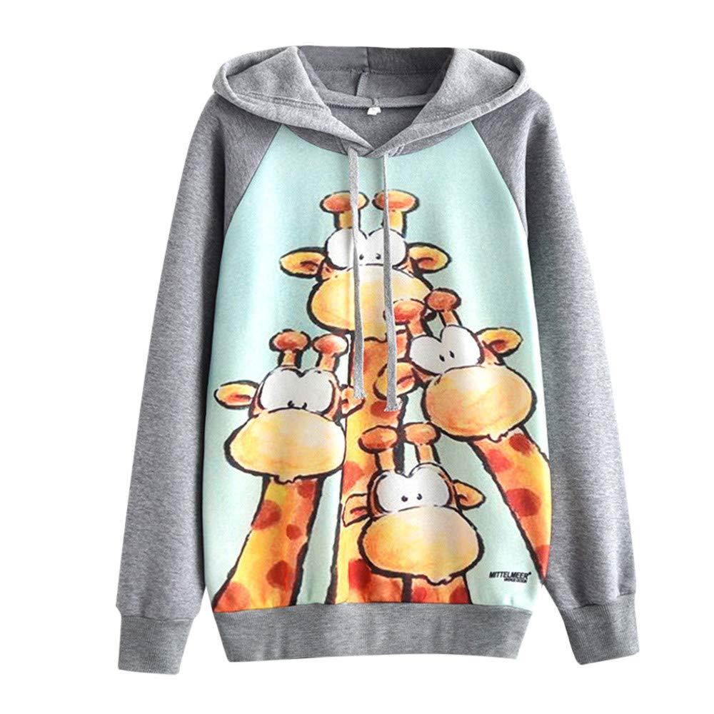 Sannysis Women's Casual Autumn Long Sleeve Mittelmeer Giraffe Print Plus Velvet Blouse, Gray L