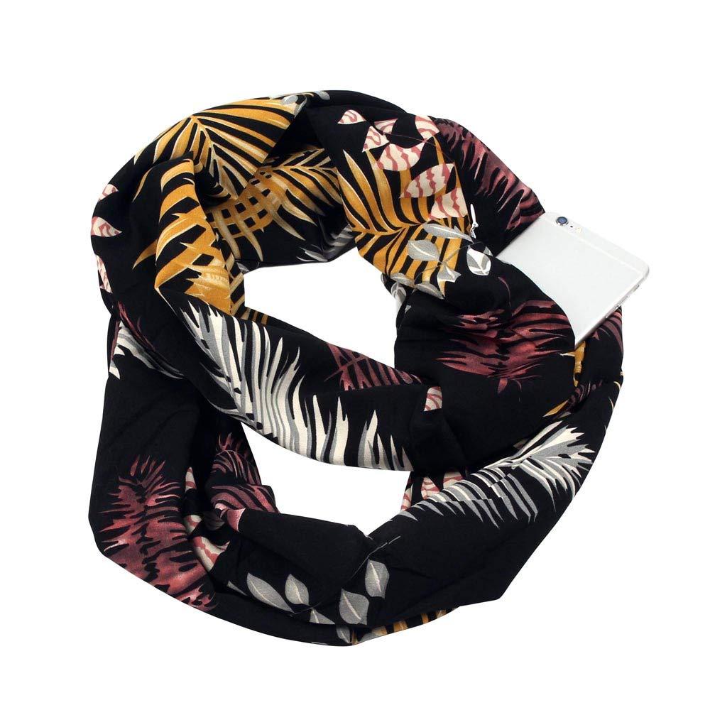 Women Print Winter Infinity Scarf Pocket Loop Zipper Pocket Scarves Jonecal Gift Clearance