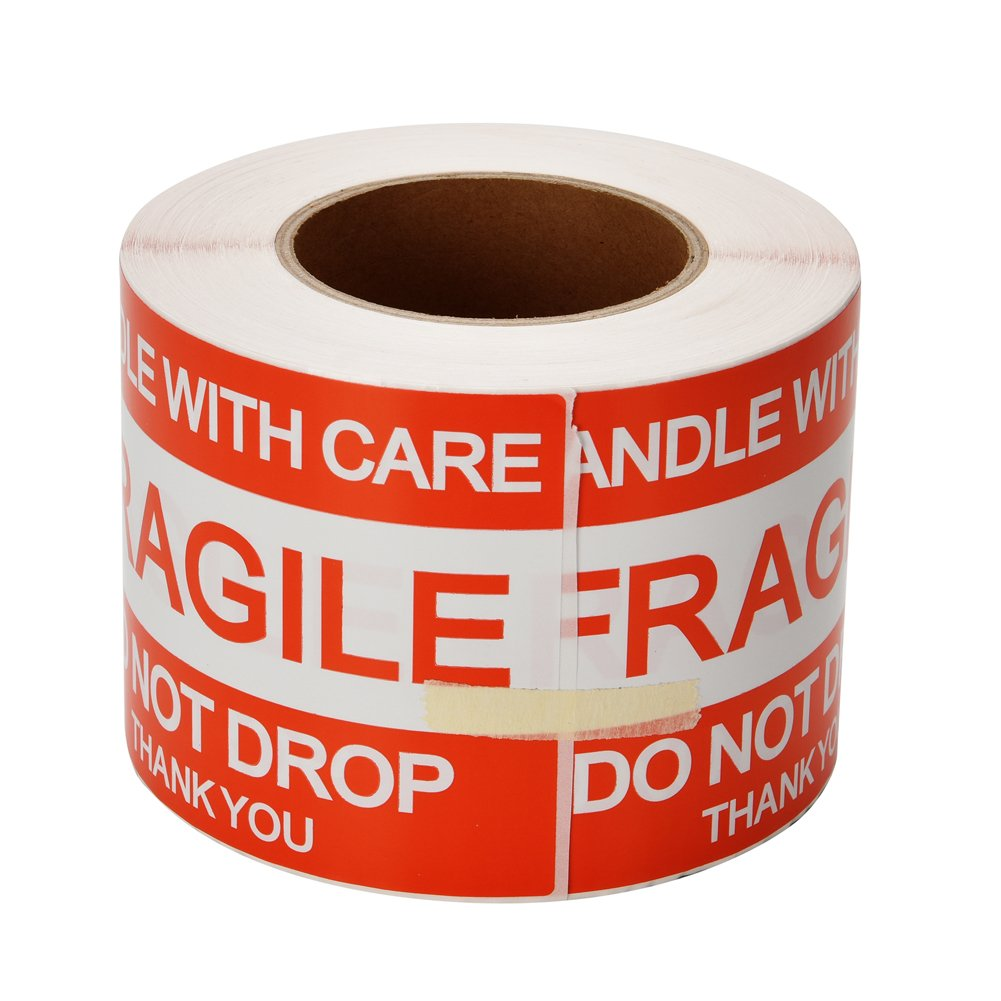 4'' x 6'' Fragile Stickers Handle with Care - Do Not Drop - Warning Shipping Labels, Home Moving Labels, 500 Labels