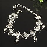RONGXINUK Beach Tibetan Daisy Foot Chain with Dangle Beads Anklet Bracelet