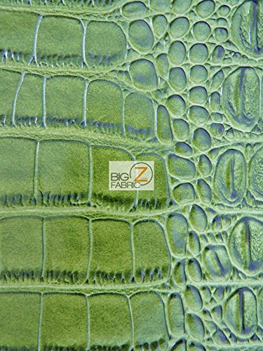 Big Z Fabric BIG NILE CROCODILE FAUX FAKE LEATHER VINYL FABRIC - Green - SOLD BY THE YARD UPHOLSTERY SYNTHETIC GRAIN