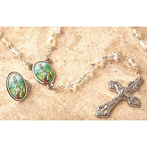 Our Lady of Fatima Crystal Bead Rosary and Lapel Pin -