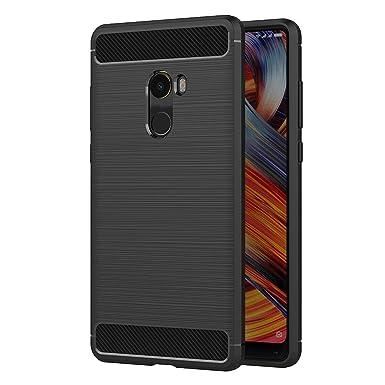 new concept 4663b a8400 Xiaomi Mi Mix 2 Case, AICEK Black Silicone Cover for Xiaomi Mix 2 Bumper  Covers Xiaomi Mix 2 Black Carbon Fiber Case (5.99 inch)