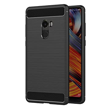 AICEK Funda Xiaomi Mi Mix 2, Negro Silicona Fundas para Xiaomi Mi Mix 2 Carcasa Xiaomi Mix 2 Fibra de Carbono Funda Case (5,99 Pulgadas)