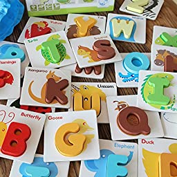 Green-state Toddler Educational Development Wooden Letter British Card Recognized Figure Fight Alphabet ABC Blocks Set