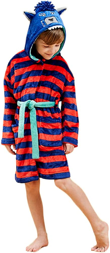 Boys Soft Flannel Fleece Bathrobe with Animals Hooded Size from 9-12M to 12-13Y Gifts for Boys