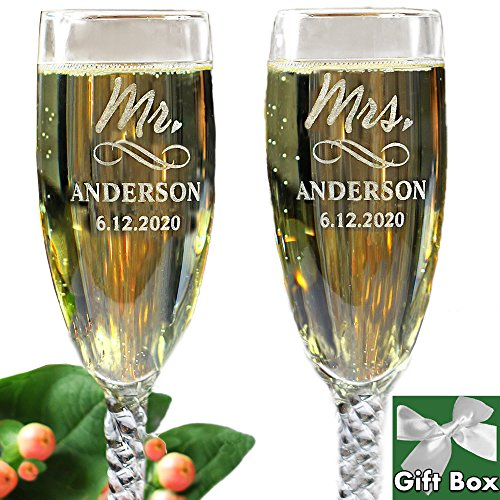 All Things Weddings Personalized Mr and Mrs Wedding Toasting Champagne Flutes, Set of 2, Engraved Customized Flutes for Bride and Groom, Gift Box Included by All Things Weddings