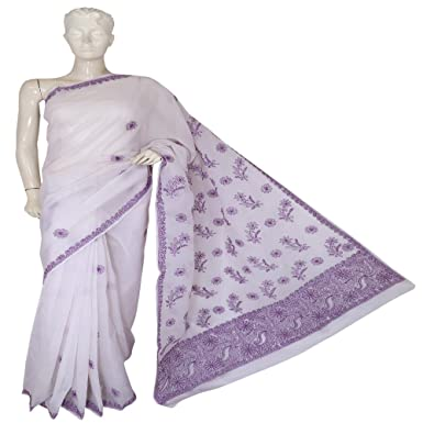 Ada Hand Embroidered Lucknow Chikan Regular Wear Cotton Saree With Blouse A78694