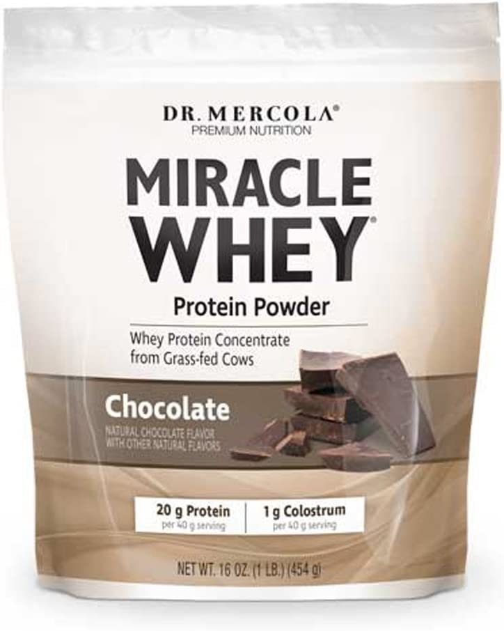 Dr. Mercola, Miracle Whey Chocolate Protein Powder, 16 oz 1 LB. , BCAA, Natural Sweeteners Only, Non GMO, Soy Free, Gluten Free