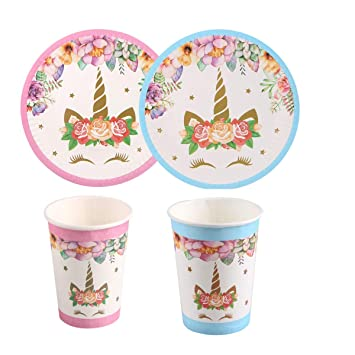 Amazon.com: Juego de 40 platos de unicornio y tazas para ...