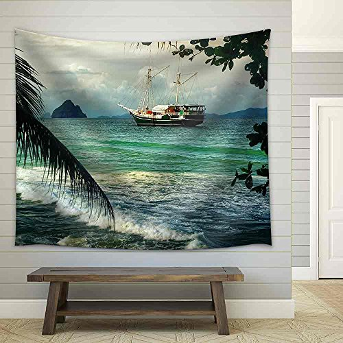 Beautiful Seascape with Sailing on The Sea of Old Ships Against Cloudy Sky and Islands Fabric Wall
