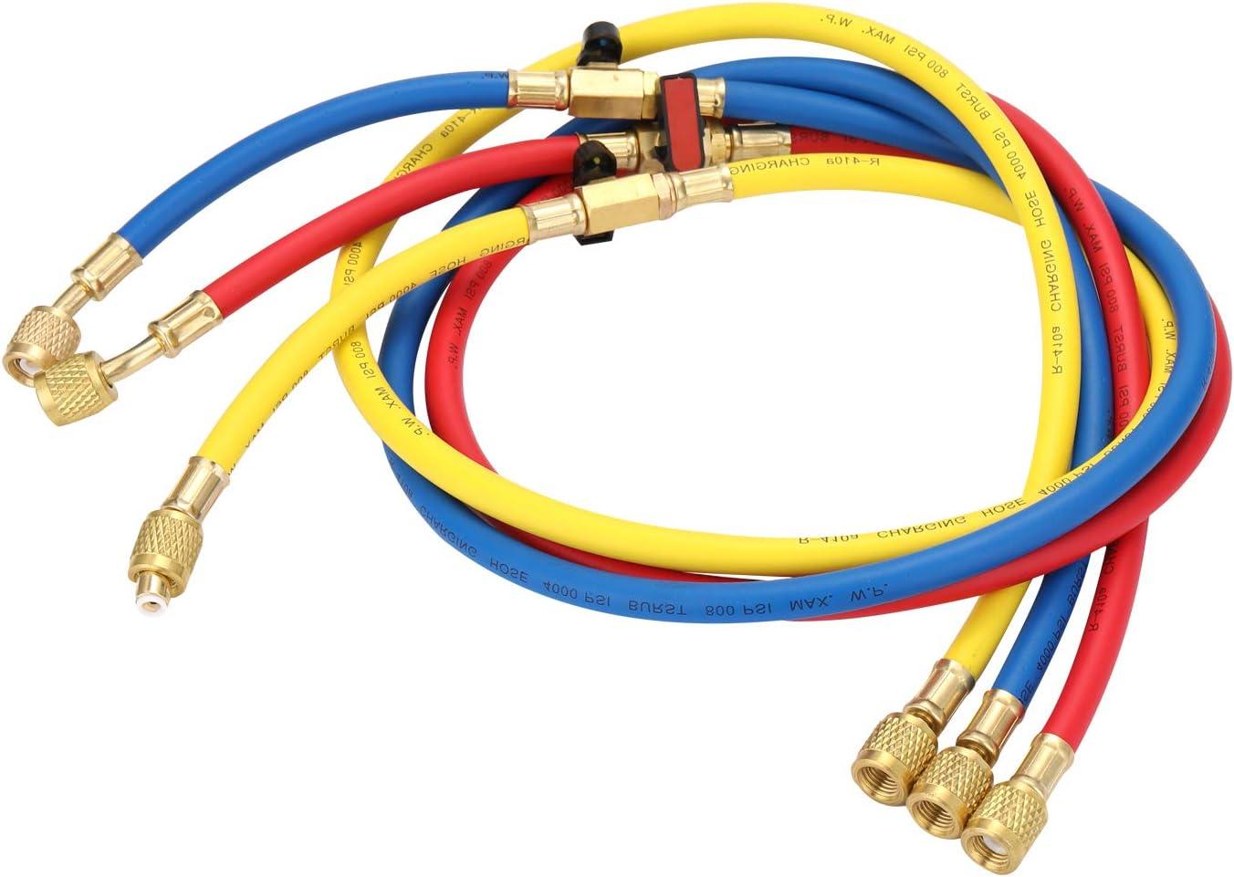 color rojo amarillo y azul 1,27 m Manguera de carga para refrigerante de aire acondicionado KKmoon R410A