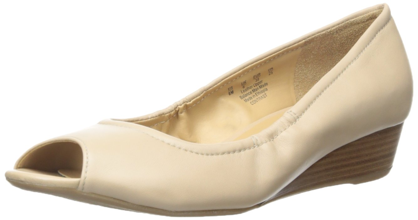 Naturalizer Women's Contrast Wedge Pump B010N8TOTG 9.5 B(M) US|Taupe