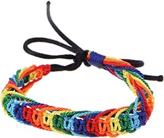 SimpleLife Handmade Bracelet - Rainbow Hand Chain LGBT Pride Bracciale Intrecciato Bangles Sailor Weave Surfer Fashion Jewelry