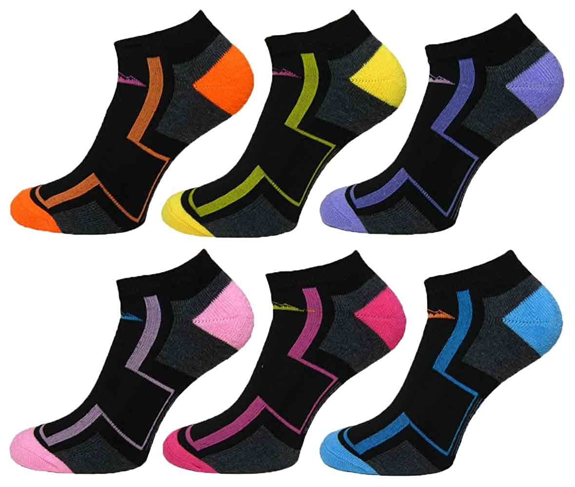 6 Pairs Ladies Prohike Cushioned Trainer Socks, Patterned Black Multi, Size 4-8