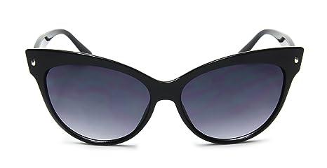 bd49fcbc12d Amazon.com  Retro Cat Eye High Pointed Vintage Inspired Fashion Black  Sunglasses  Clothing