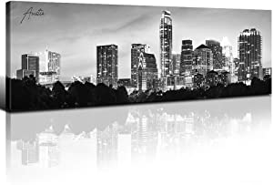 Austin Skyline Wall Art Canvas Print Black and White City Building Picture Painting Artwork Framed 14x48 Inch 1 Panels State of Texas Night View Modern Landscape Poster Decoration Office Living Room