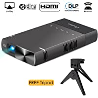 DLP Mini Projector iPhone, ELEPHAS 100 ANSI Lumen Pico Video Projector Support 480P HDMI USB TF Micro SD Card AV Ideal Camp Backyard Outdoor Movie Night Home Cinema TV Laptop Game, Black-Silver.