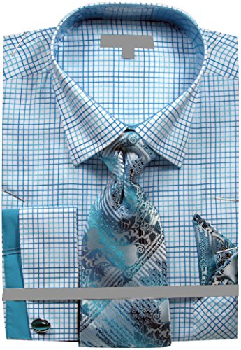 Men's Grid Checker Pattern French Cuff Shirt Tie Handkerchief Cuff Links - Turquoise 16.5 36-37