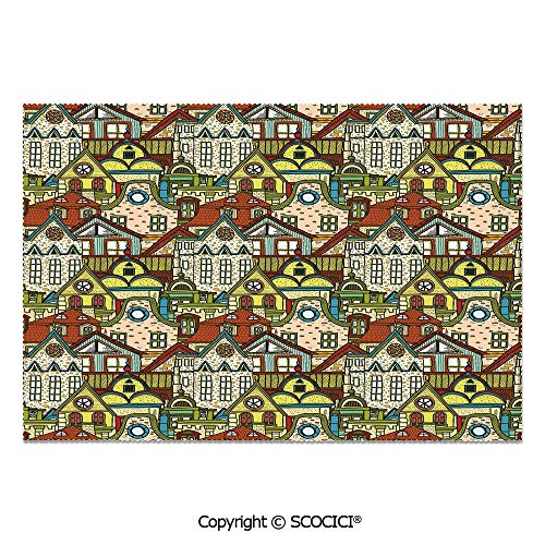 SCOCICI Set of 6 Durable Polyester Place Mats Heat Resistant Table Mats Hand Drawn Old City in Colorful Tones European Buildings Featured Town Place Picture Decorative for Party Kitchen Dining Table