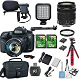 Canon EOS 7D Mark II 20.2MP Digital SLR DSLR Camera + 18-135mm IS STM Lens + Shotgun Microphone Bundle + 2 piece 32GB Memory Card + LED Light Kit + Memory Card Reader + Canon Case + Flexible Tripod