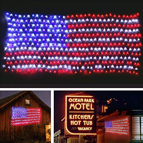MZD8391 Waterproof American US Flag LED String Light-[Upgraded Larger and Safer]-USA Flag Light/Decorative Hanging Ornaments for Independence Day, Memorial Day,July 4th, National Day Decoration ()